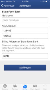 State Farm Bill Pay >> You Can Now Add Payees In Bill Pay Using Mobile App