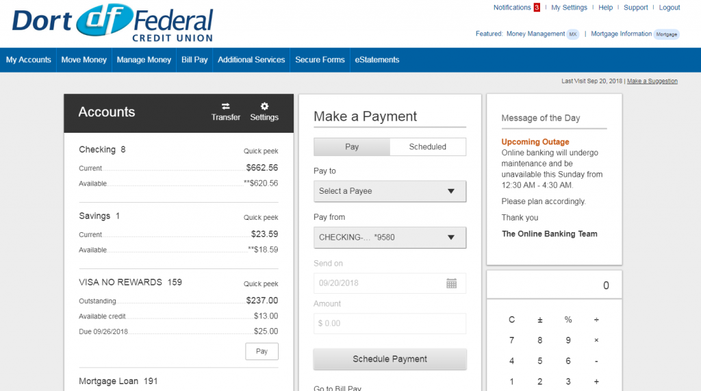 dort federal credit union app